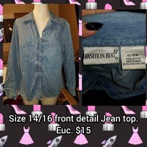 Size 14/16 front detail Jean top.  Euc
